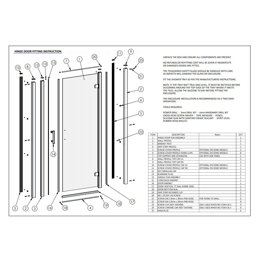 Premier Bathrooms Pacific 800mm Hinged Door Aqhd80 Spare Parts
